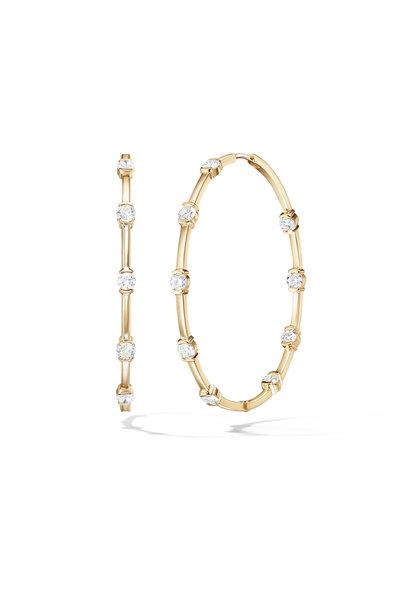Melissa Kaye - 18K Yellow Gold Diamond Zea Hoops