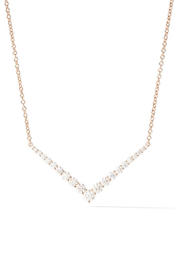 Melissa Kaye 18K Pink Gold Diamond Aria V Necklace