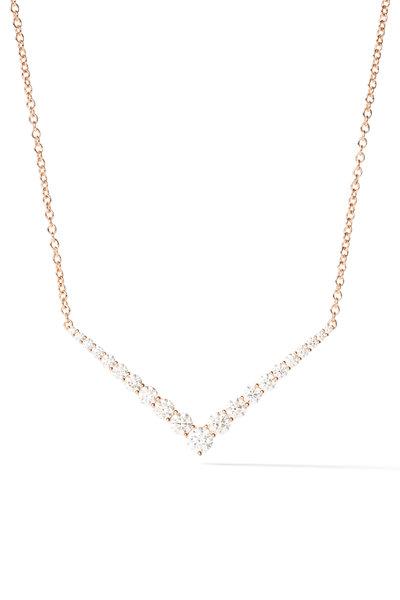 Melissa Kaye - 18K Pink Gold Diamond Aria V Necklace