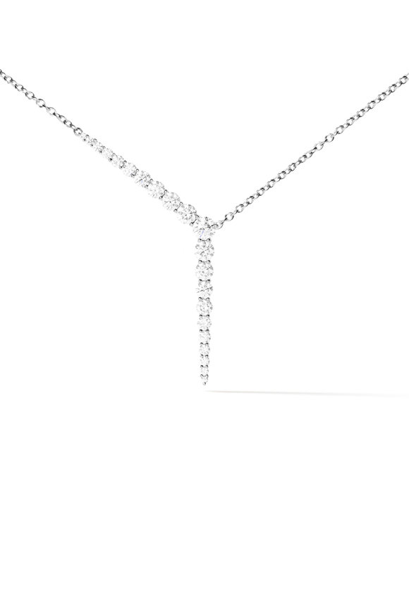Melissa Kaye 18K White Gold Diamond Aria Y Necklace