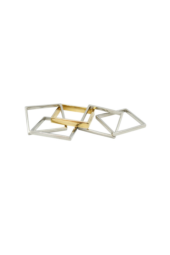 Leslie Paige Yellow Gold Men's Puzzle 5 Band Ring