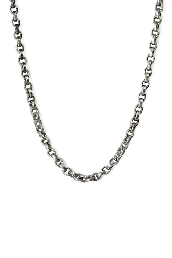 .925Suneera Sterling Silver Vintage Finish Bell Chain