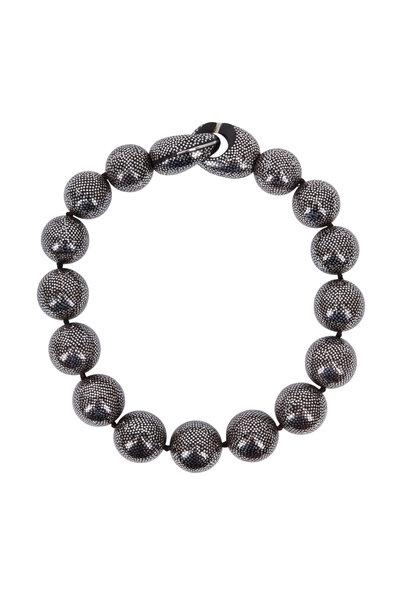Patricia von Musulin - Silver Inlay Ebony Ball Necklace