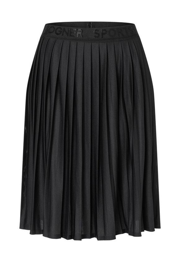 Bogner Rosa Black Piqué Pleated Skirt