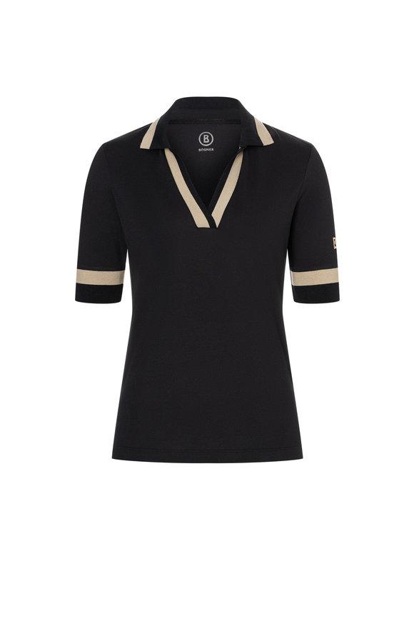 Bogner Fida Black Functional Piqué Polo