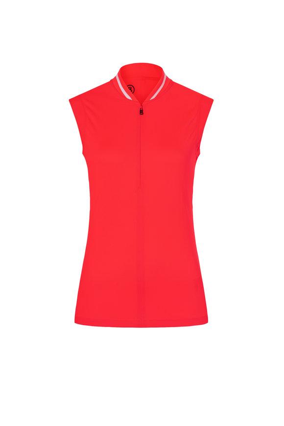 Bogner Eva Neon Red Polyester Piqué Sleeveless Polo