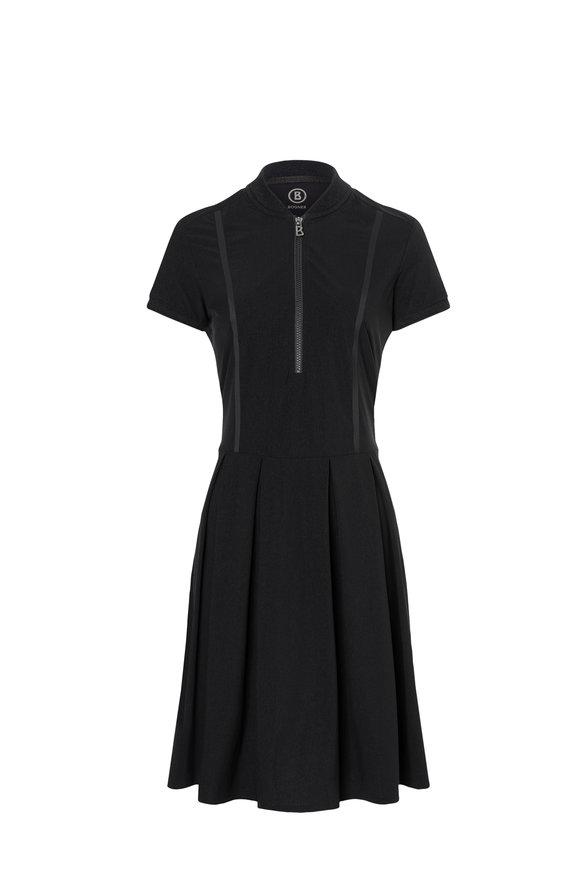 Bogner Jacky1 Black Stretch Nylon Short Sleeve Dress