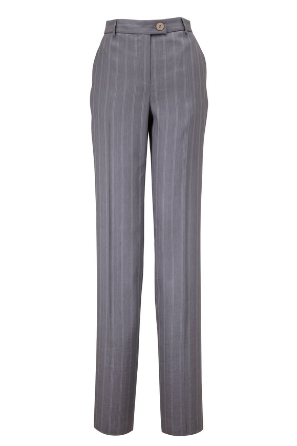 Giorgio Armani Gray Blue Silk Linen & Silk Pant