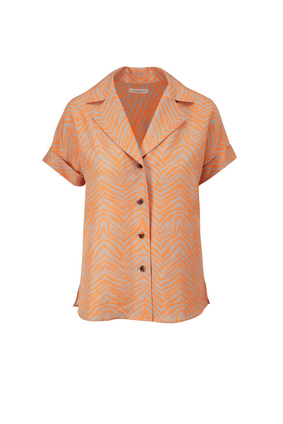 Lafayette 148 New York Sabine Tanned Coral Print Silk Blouse