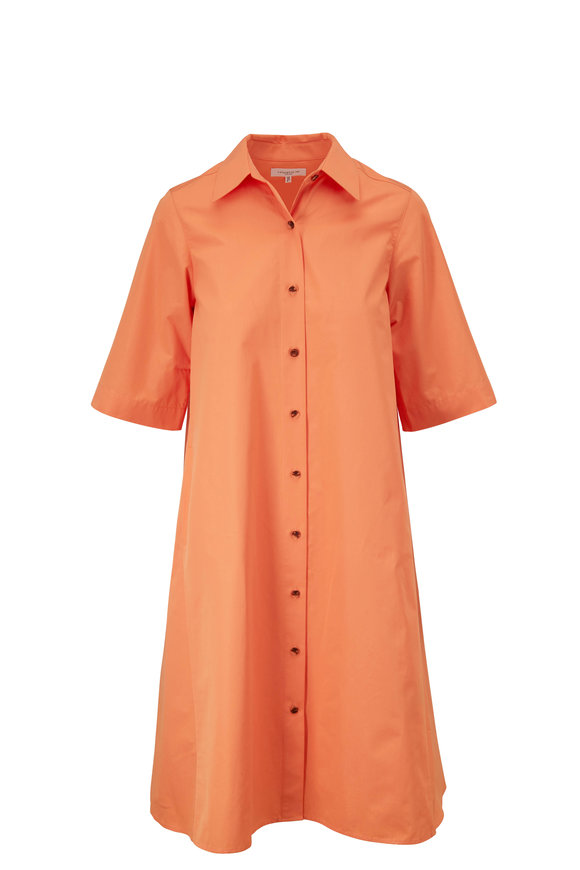Lafayette 148 New York Sedwick Tanned Coral Short Sleeve Shirt Dress