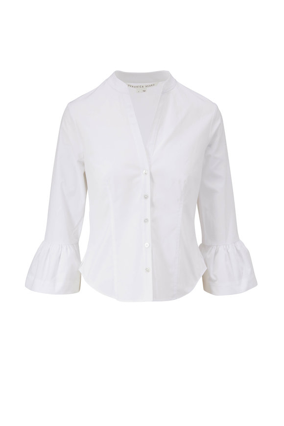 Veronica Beard Bab White Flared Cuff Shirt
