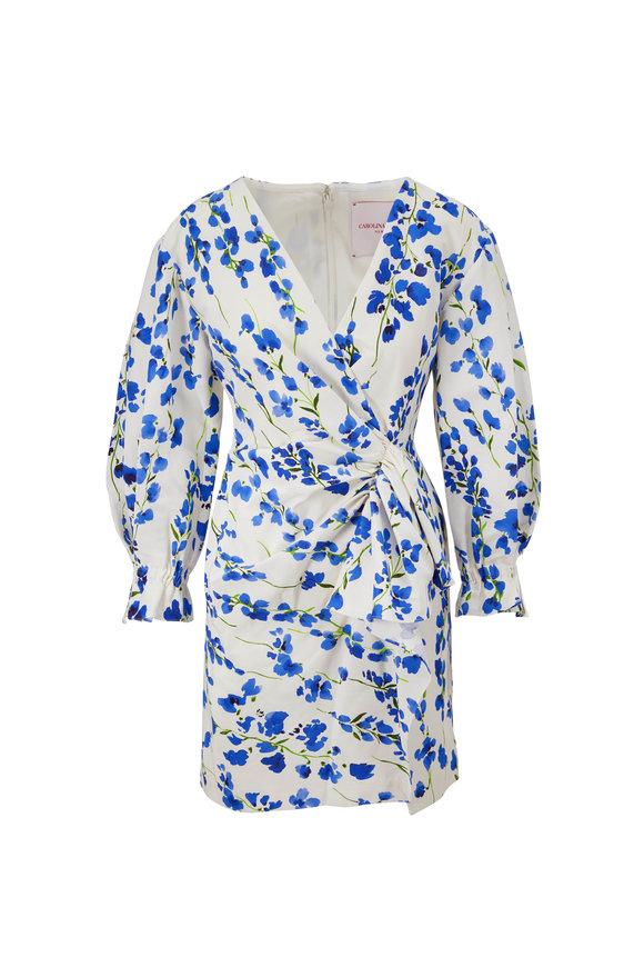 Carolina Herrera White Multi Puff Sleeve Mini Dress
