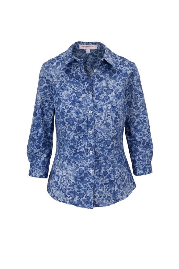 Carolina Herrera Classic Azure Multi Cotton Button Down