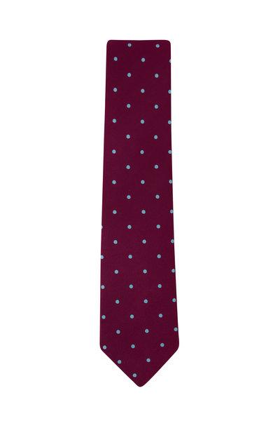 Charvet - Burgundy & Aqua Dots Silk Necktie