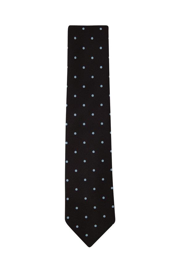 Charvet Black & Aqua Dots Silk Necktie