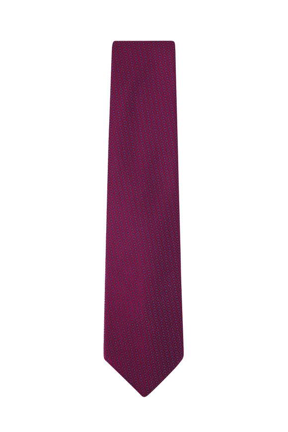 Charvet Pink & Blue Geometric Print Silk Necktie