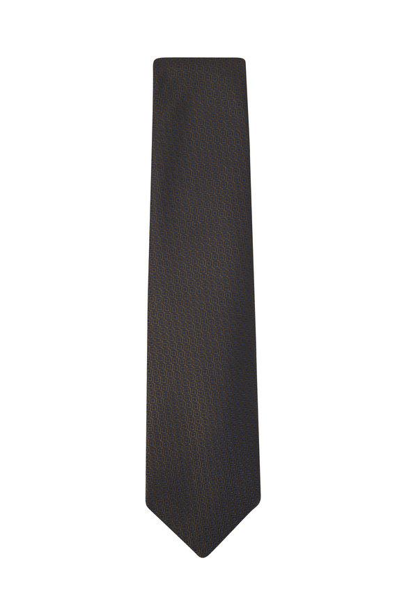 Charvet Olive & Blue Geometric Print Silk Necktie