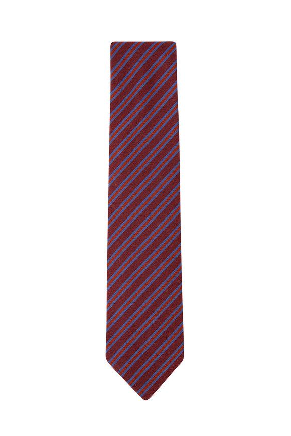 Charvet Rust & Blue Diagonal Stripe Silk Necktie
