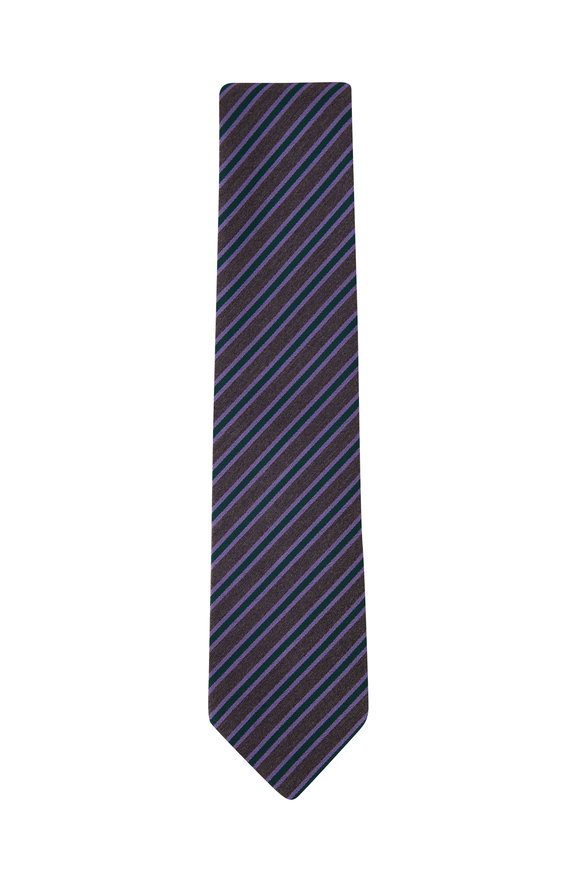 Charvet Green & Purple Diagonal Stripe Necktie