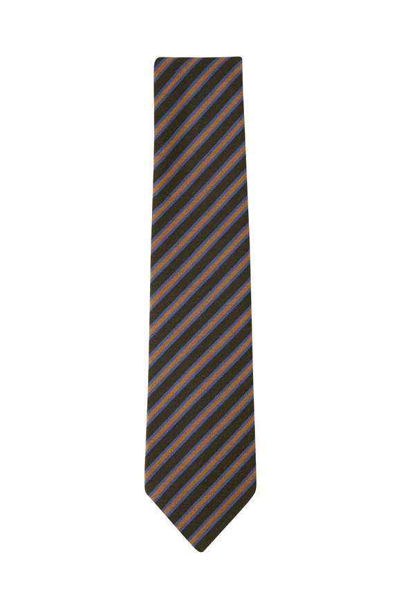 Charvet Olive & Yellow Diagonal Stripe Necktie