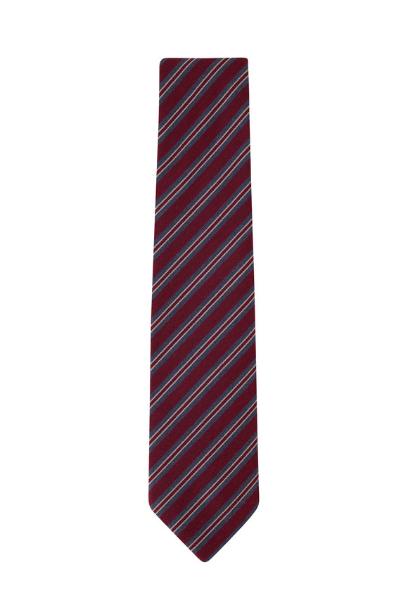 Charvet Burgundy Diagonal Stripe Necktie
