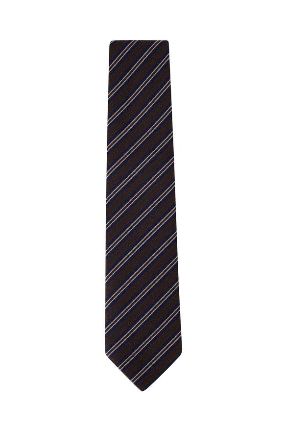 Charvet Brown & Navy Diagonal Stripe Necktie