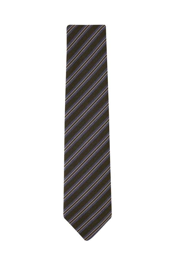 Charvet Green & Gray Diagonal Stripe Necktie