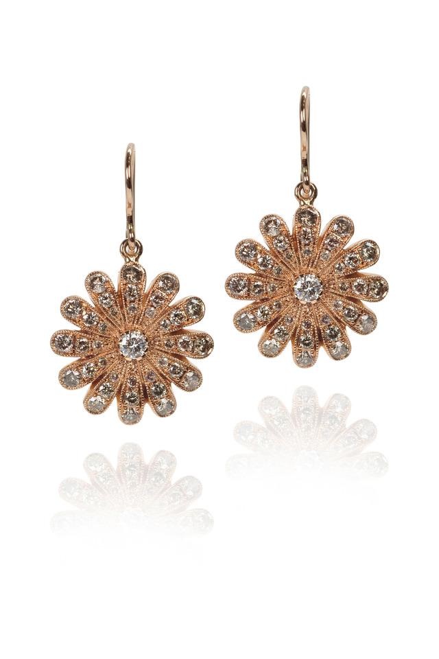 Champagne Diamond Rose Gold Daisy Earrings