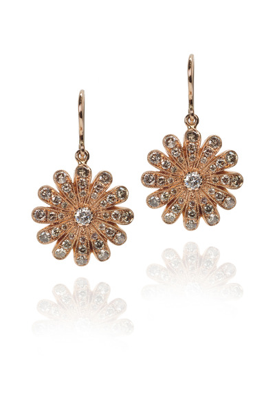 Nam Cho - Champagne Diamond Rose Gold Daisy Earrings