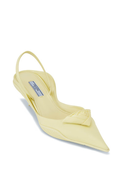 Prada - Yellow Nylon Pointed Slingback, 45mm