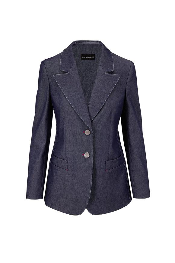 Giorgio Armani Blue Denim Effect Two-Button Jacket
