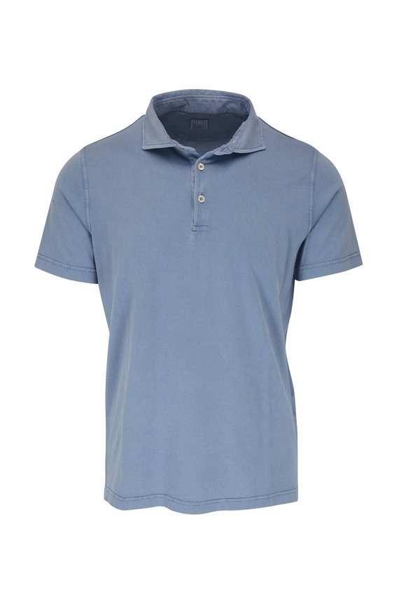Fedeli Denim Blue Frosted Jersey Short Sleeve Polo