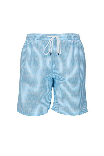 Fedeli - Blue & White Stripe Swim Trunks