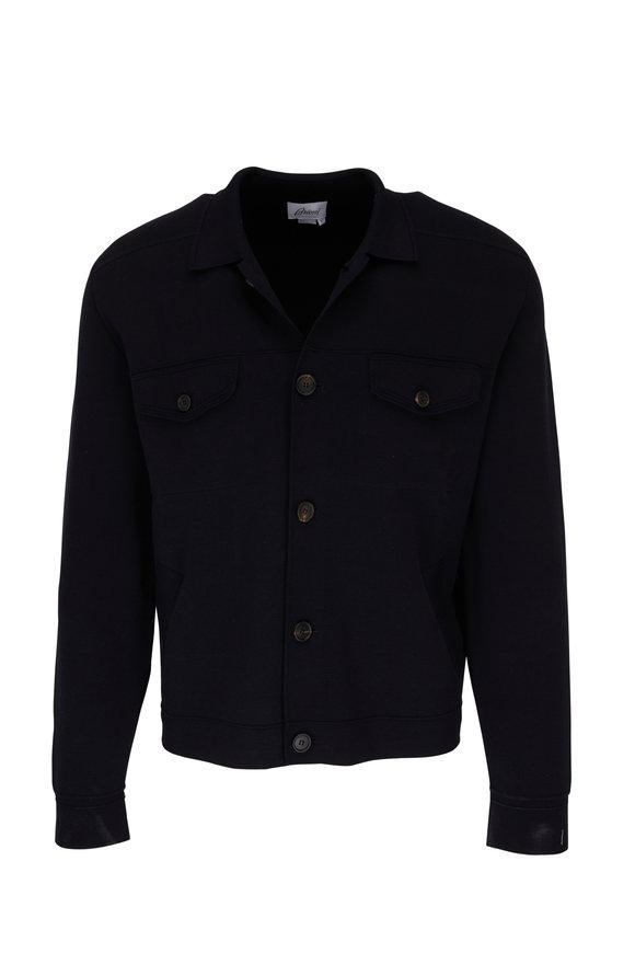 Brioni Navy Silk & Cotton Button Down Knit Shirt