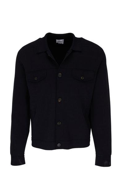 Brioni - Navy Silk & Cotton Button Down Knit Shirt
