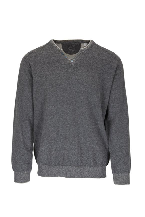 Raffi  Charcoal Gray Cotton Henley