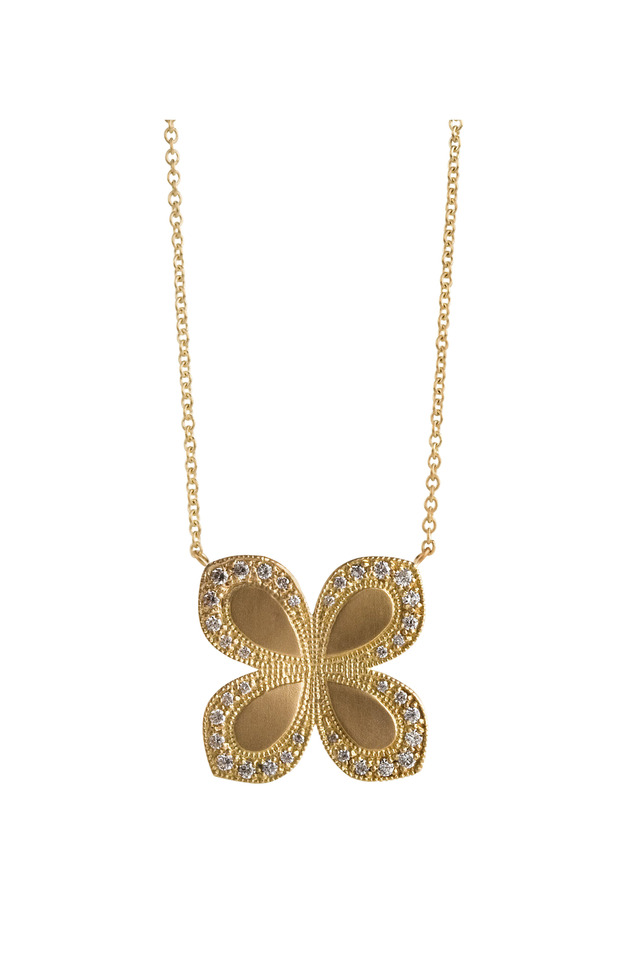 Flower Necklace With Diamond Scallop Edge