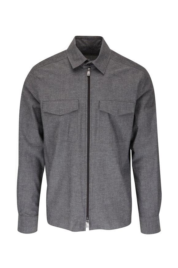 Corneliani Charcoal Cotton Front Zip Shirt