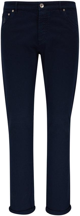 Brunello Cucinelli Navy Five Pocket Skinny Fit Jean