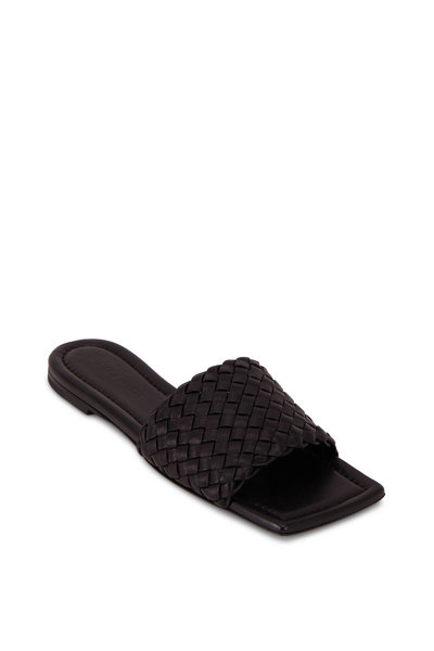 Bottega Veneta - Black Small Weave Leather Flat Slide