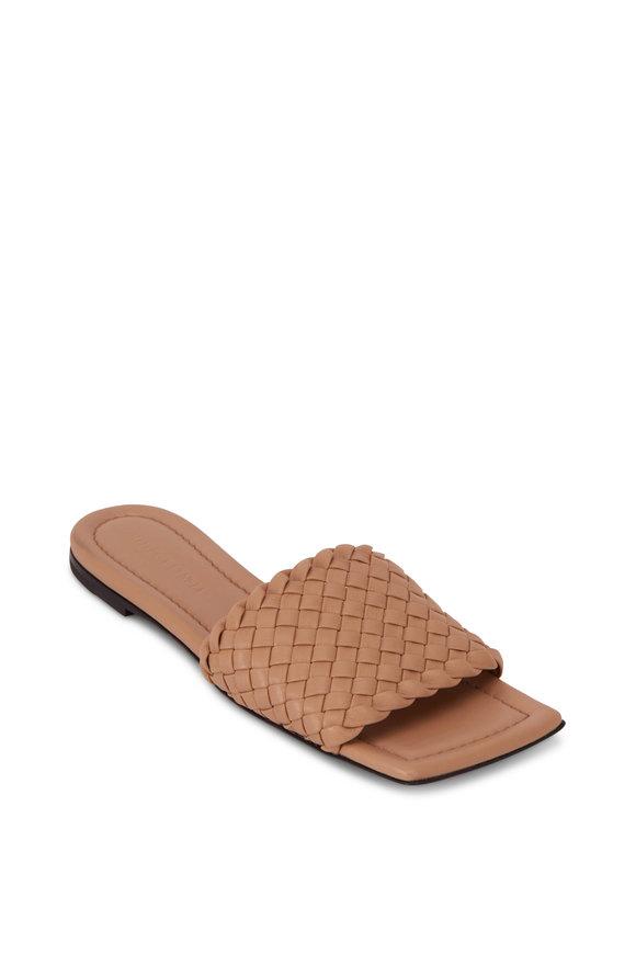 Bottega Veneta Cipria Small Weave Leather Flat Slide
