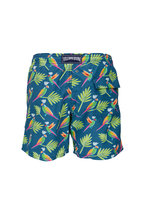 Vilebrequin - Moorea Blue & Neon Parrots Swim Trunks