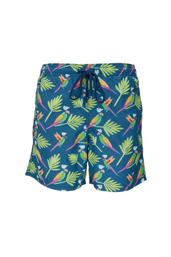 Vilebrequin Moorea Blue & Neon Parrots Swim Trunks