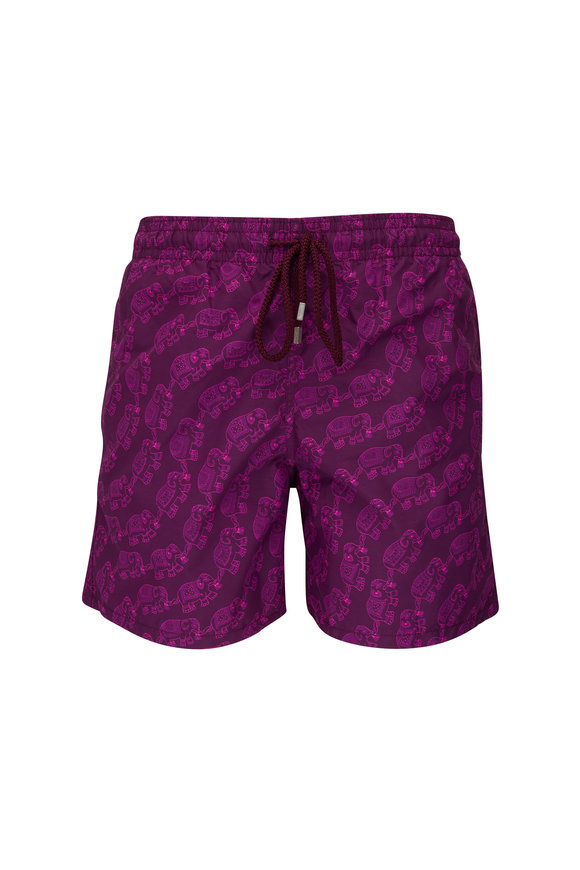 Vilebrequin Moorea Purple Elephants Print Swim Trunks