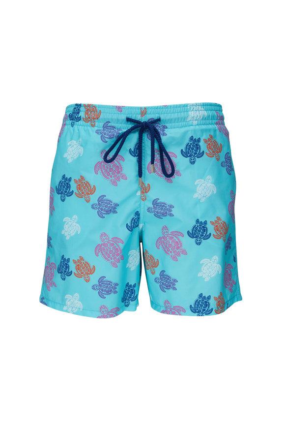 Vilebrequin Moorea Blue Turtles Print Swim Trunks