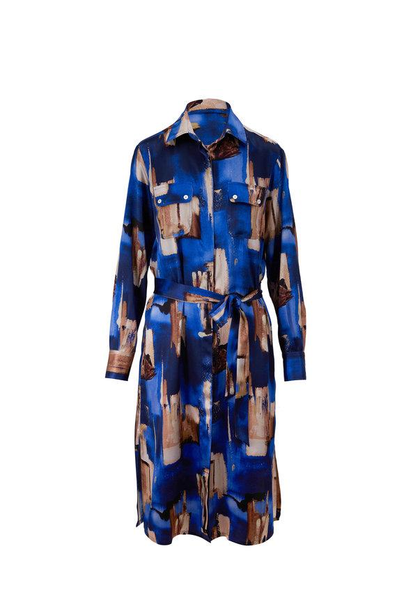 Kiton Blue Print Silk Long Sleeve Dress