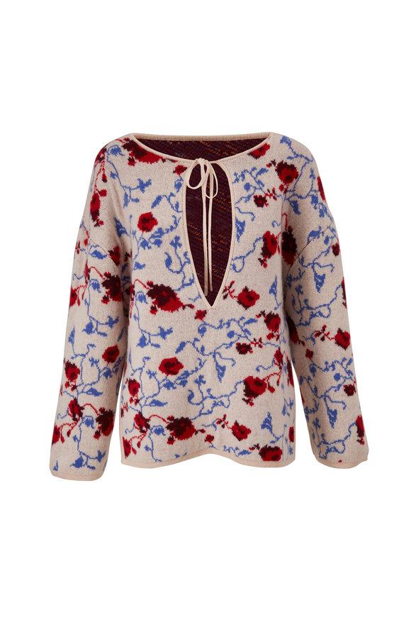 Khaite Jamie Lynn Multicolor Floral Jacquard Sweater