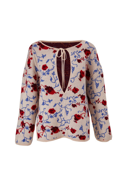 Khaite - Jamie Lynn Multicolor Floral Jacquard Sweater