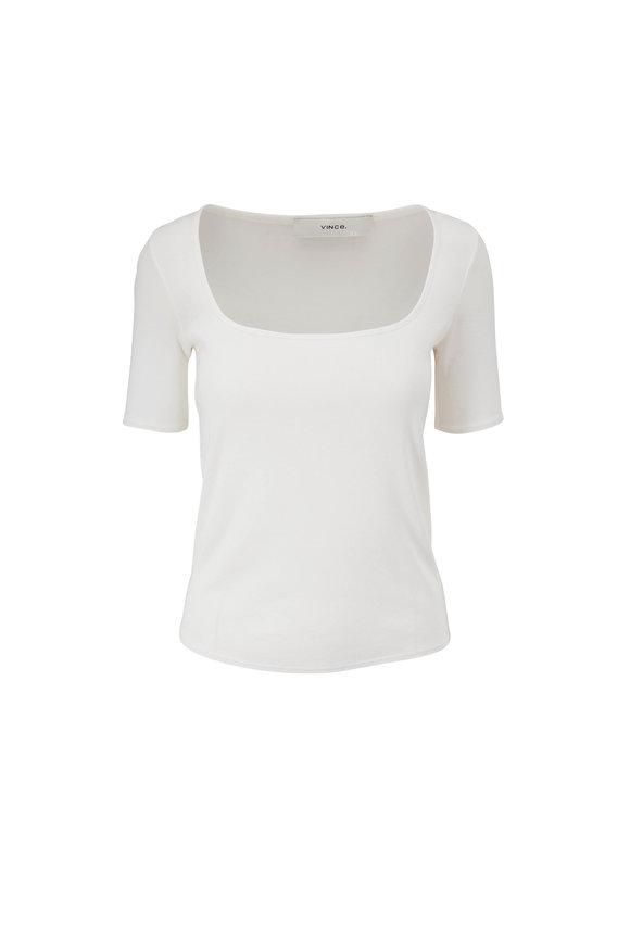 Vince Optic White Square Neck T-Shirt