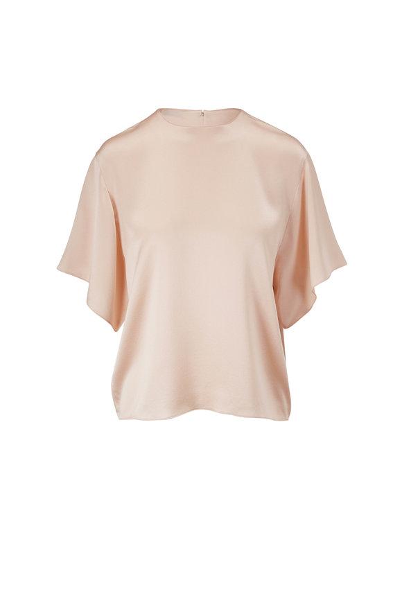 Vince Rose Water Silk Flutter Sleeve Blouse